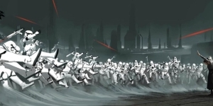 Rey Uses the Force On an Entire Stormtrooper Fleet in Rise of Skywalker Concept Art