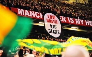 Manchester United fan protests cost club massive £200m sponsorship deal as company frets over anger towards Glazers
