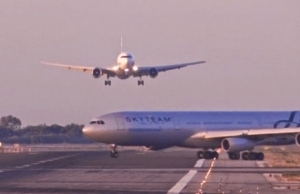 Video: Moment two planes almost collide on runway at Barcelona airport