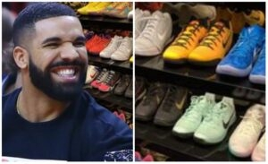 Drake shows off his shoe collection as he self-isolate