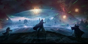 Star Wars Art Shows Yoda, Luke, & Obi-Wan's Force Ghosts Fighting Palpatine's Army