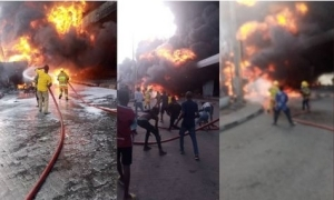Horror! One Killed As Petrol Tanker Explodes At Obalende Roundabout (Video)
