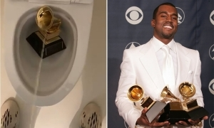 Video Of Kanye West Urinating On His Grammy Award
