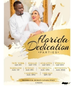 Actress Liz Anjorin And Husband Organize 10 Child Dedication Parties In Different Lcations For Their New Baby