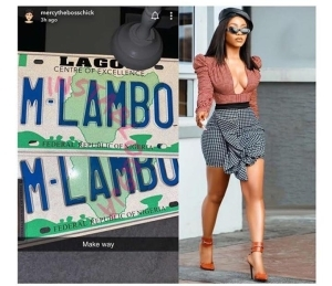 Make Way – Mercy Eke Brags As She Becomes The First BBNaija Star To Own A Customized Number Plate