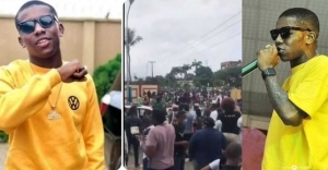 Moment Small Doctor Led A Large Crowd Of Protesters In Lagos (VIDEO)