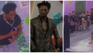 #BBNaija: Moment former HOH Peace passed the necklace to the New HOH Boma (Video)