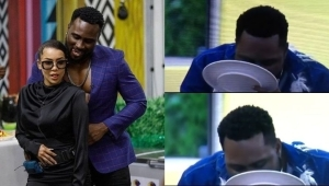 """BBNaija: """"Local Man Lost His Home Training"""" – Reactions As Pere Is Spotted Licking His Plate After Maria Took His Fork (Video)"""