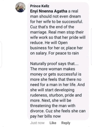 """A real man should not allow his wife to be successful"" – Nigerian man says"