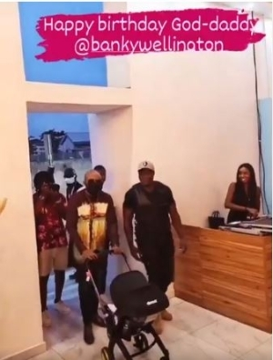 See The Moment Banky W Walked In With His Son For His Surprise 40th Birthday Party (Video)