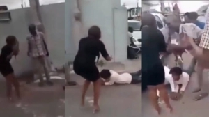 Drama As Crowd Go Down On Their Knees To Beg Lady To Accept Boyfriend's Proposal After She Said 'NO' (VIDEO)