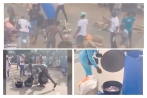 #ENDSARS Video: Benin Protesters Cooks a Bag of Rice on Express Road