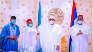 You're Welcome To Progressives Family – Buhari Tells Sen Nwaoboshi After Defecting To APC