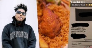 Singer, Skiibii Shows Off N1.3M Receipt Spent On Food At A Restaurant