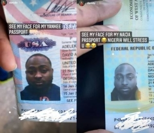 """""""Nigeria Will Stress You"""" - Davido Says As He Shares The Photos On His American And Nigerian Passport"""