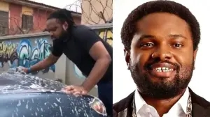 'What manner of man is this' – Nigerians react after visually impaired Cobhams Asuquo was seen washing his car