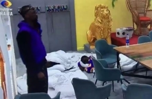 BBNaija: Housemates Sleep In Front Of Diary Room After Nini Went Missing