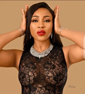 BBNaija star, Erica Nlewedim, flashes her boobs in lacy black dress (photos)
