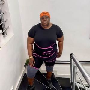 Eniola Badmus lifts heavy tyre as she begins weight loss journey