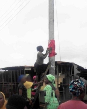 YEPA!! Residents Planted Charm On Electric Pole To Avoid NEPA From Climbing (SEE PHOTO)