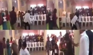Pastor engages in a boxing match with a demonic spirit during deliverance service (VIDEO)