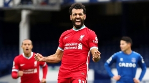 Salah scores 100th goal for Liverpool with strike against Everton in Merseyside derby