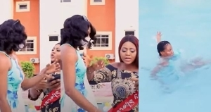 Regina Daniels Reacts After Being Backlashed For Pushing Her PA Into Water – Says It's Pregnancy Hormones