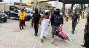 EndSARS: 'Ifa Priest' Arrested At Lekki Tollgate Protest (Photo)