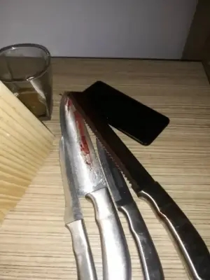 Lagos police command release official statement on the murder-suicide incident that happened in Lekki. See photo of the knives used in the murder