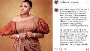 How FG Can Boost Naira Value - Actress Ruth Kadiri