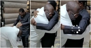 Don Jazzy Kneels Down To Greet Veteran Actor, Kanayo. O. Kanayo As They Meet For The First Time (Video)