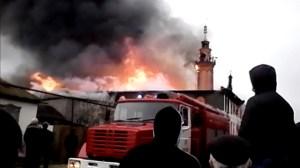 Massive Fire Outbreak In Russian Mosque.