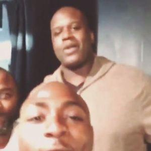 "Video: Davido Ran Into Shaquille O'Neal + Shaq can't pronounce ""Omo Baba Olowo"""