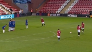 Man United starlet Amad Diallo scores a free kick from distance against Chelsea U23's (Video)