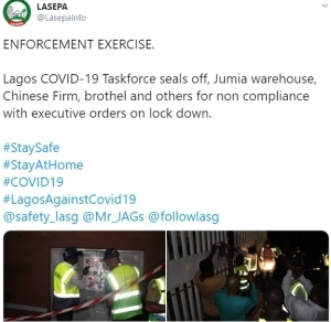 LASG Seals Jumia Warehouse, Hotel, Chinese Firm, For Defying Lockdown Order