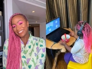 DJ Cuppy promises to sponsor a young girl through school for putting on pink hair