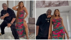"""""""I Really Need To Learn How To Pose"""" – Don Jazzy Says As He Strikes A Pose With Erica (Photo)"""