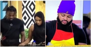 #BBNaija: Reactions as JMK and Micheal relieved WhiteMoney of his cooking duties while Pere supervised