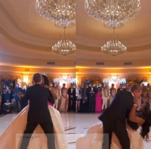 The Moment Newly-wedded Fell During First Dance At Their Wedding (Video)