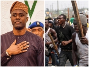 VIOLENCE IN IBADAN!! Seyi Makinde Sneaks Out As Angry Youths Storm Governor's Office