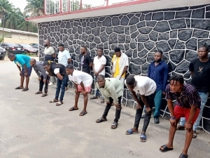14 Yahoo Boys Arrested With Their Exotic Cars In Badore Area Of Lagos (Photos)