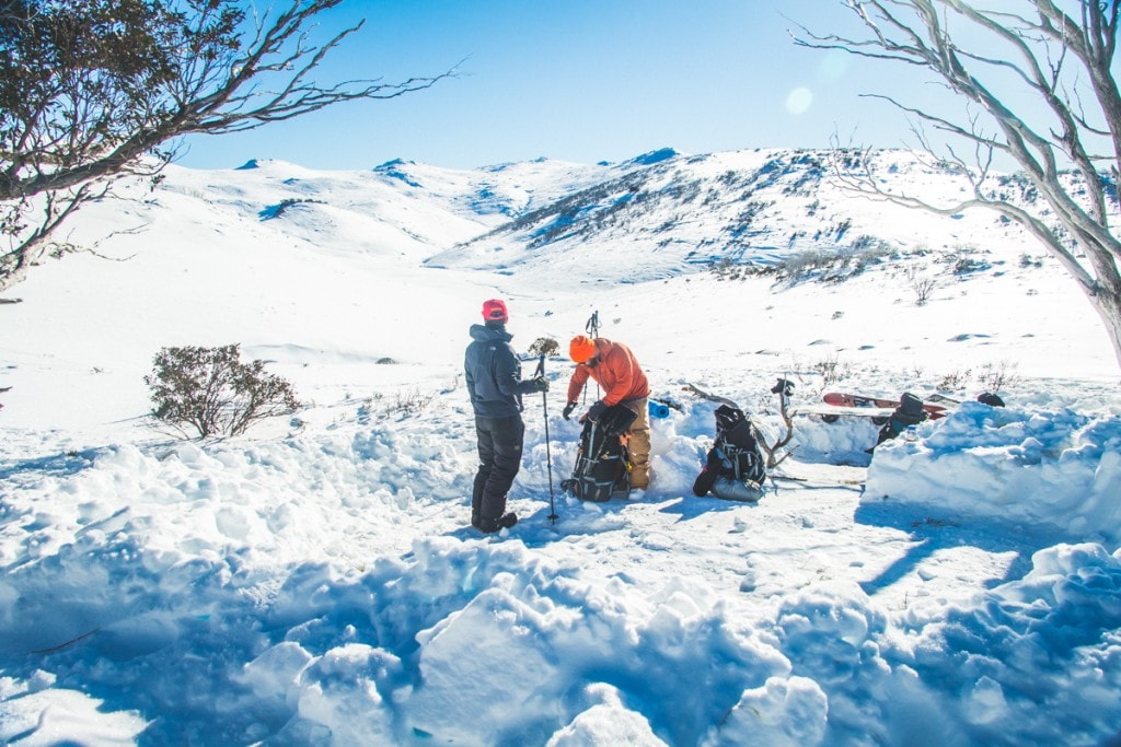 Snowy Mountains Splitboarding (NSW), Henry Brydon, snow, packing up, breaking camp