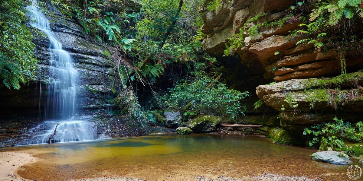 6 Wild Swimming Paradises in NSW Rachel Lewis Andy Lewis Pool of Siloam, waterfall, swimming hole, rocks, bushes, water