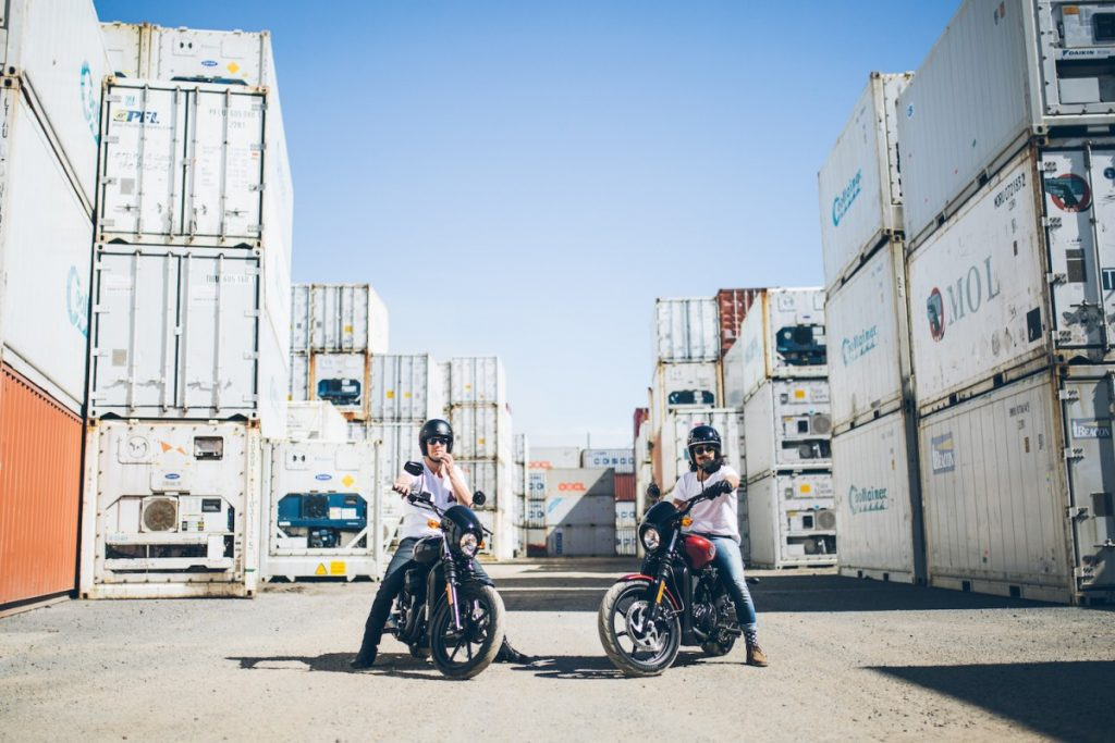An Urban Adventure // Sydney (NSW) Henry Brydon, Photo Daniel Bolt, motorbike, helmet, shipping containers