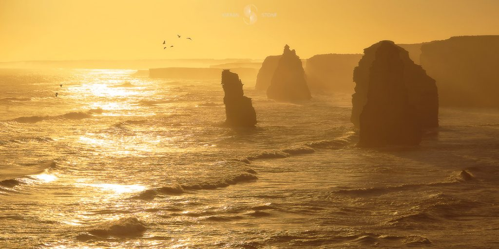 Photographing The Great Ocean Road (VIC) Keiran Stone, 3_12apostles_sunset, yellow, rock stacks, waves, birds, mist