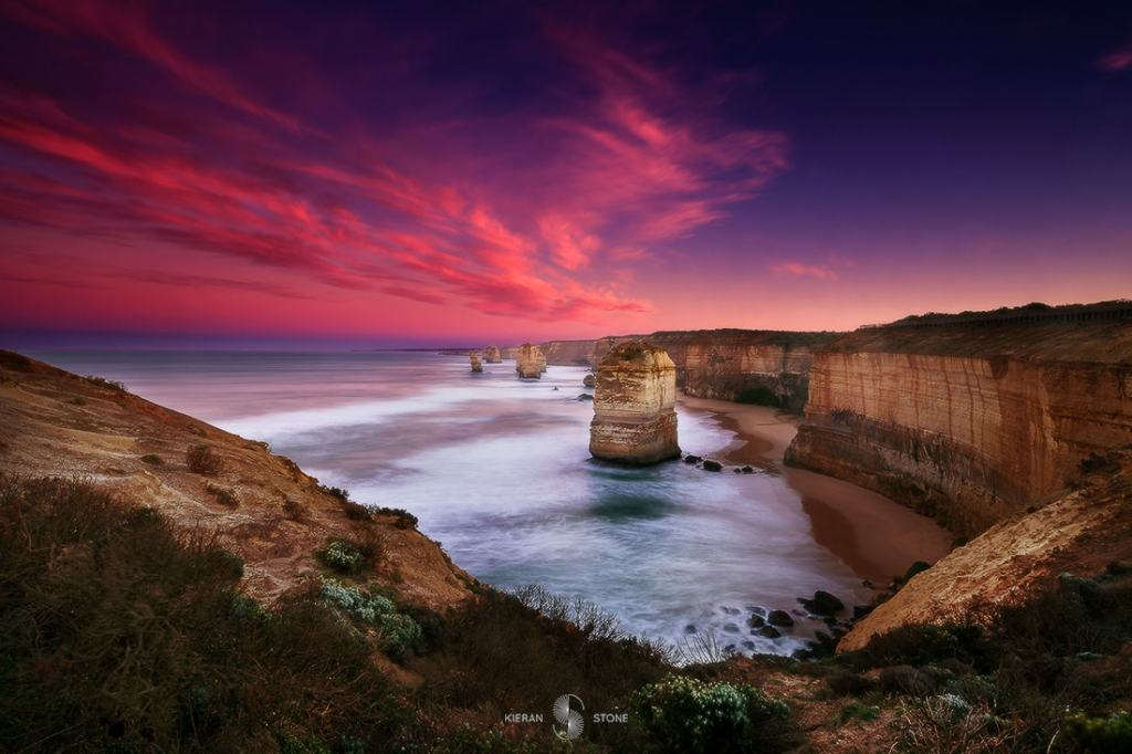 Photographing The Great Ocean Road (VIC) Keiran Stone, 5_12apostles_sunrise, pink sky, rock stacks, cliffs, view, ocean