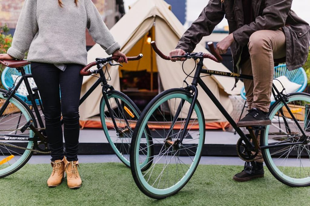 Rooftop Camping in Melbourne Amy Molloy, bikes, couple, tent