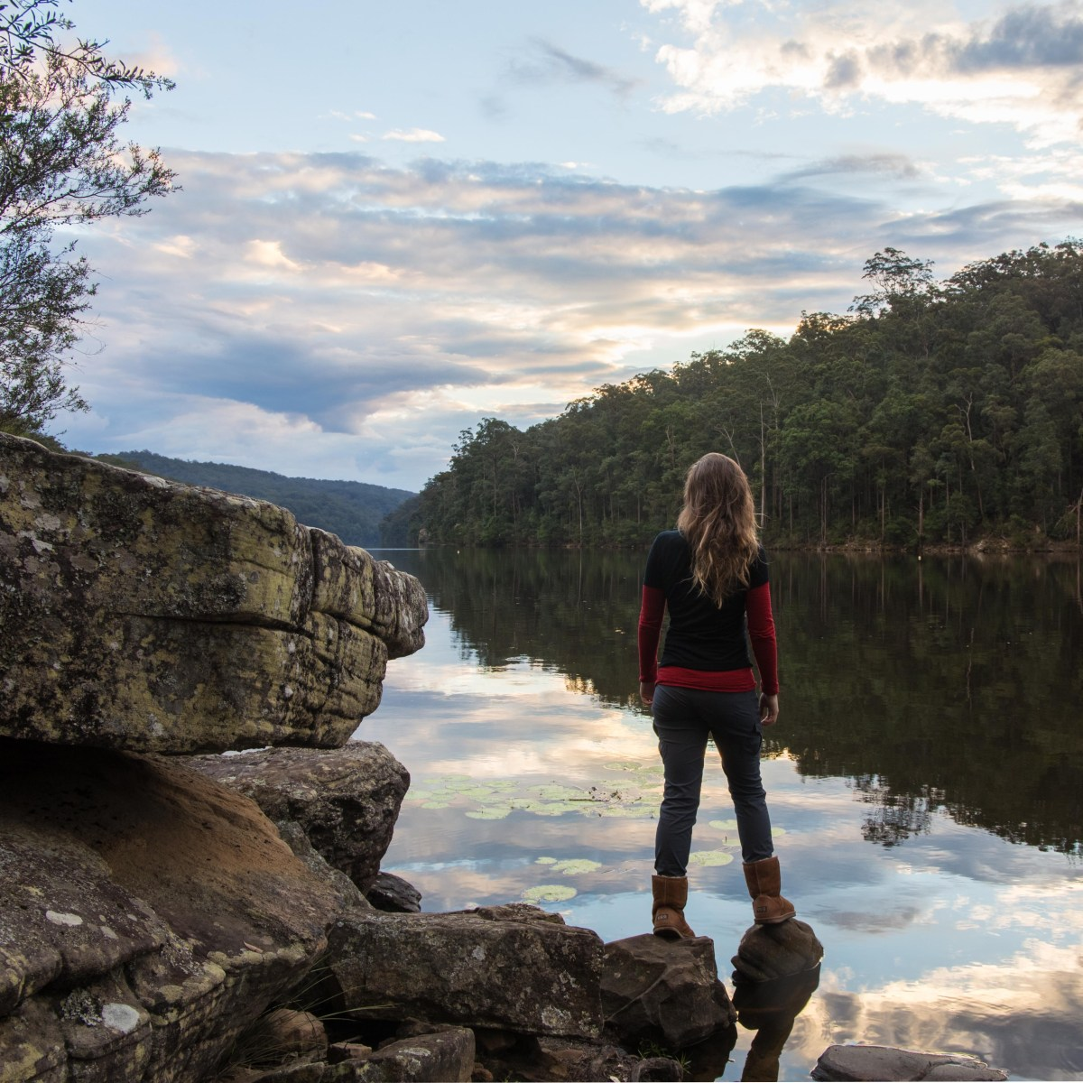 Canoeing Lake Yarrunga, Kangaroo Valley, NSW, person, glassy, lake