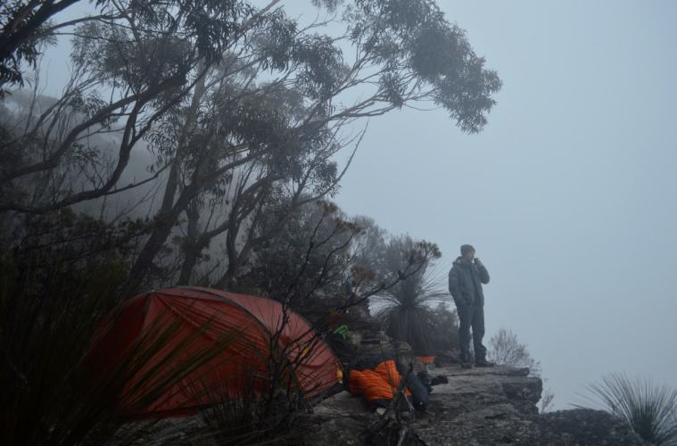 Tim Ashelford, Mt Solitary, NSW, Clifftop Camping, You Did Not Sleep There, Tom Darley drinking coffee