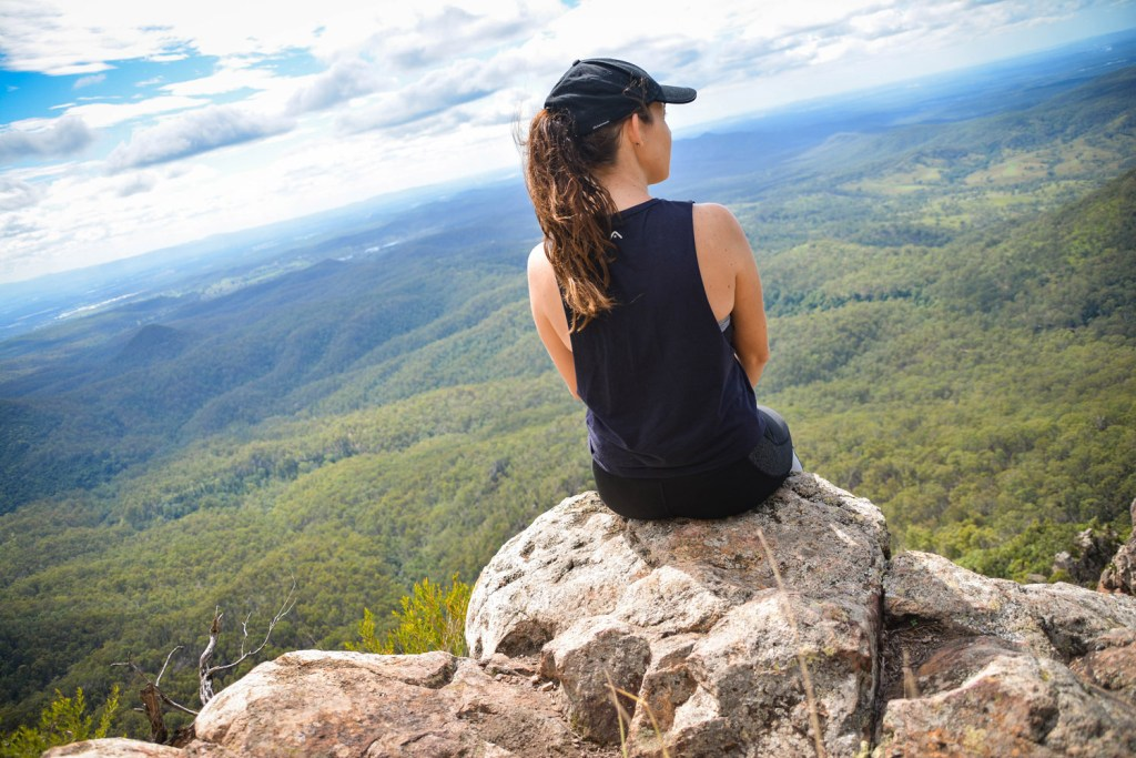 Lisa Owen_Best Intermediate Hikes Near Brisbane_Flinders Peak, woman, sitting, vista, horizon, view, mountain